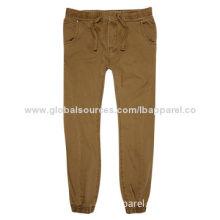 Brown Slim Jogger Pants, Elasticated Contrast Waistband