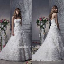 Adorable A Line Handmade Flower Overlapping Sweetheart Chapel Train Wedding Dress 2012