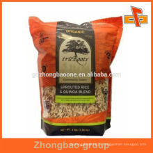 OEM food grade frosted ziplock bag with bottom gusset for snacks