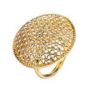 Fashion personalized simple rings, made of copper and zircon, gold-plated or rhodium-platedNew