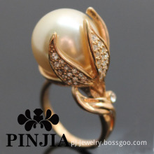 Calla Lily Simulated Pearl Flower Fashion Jewelry Ring