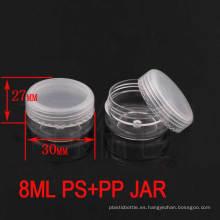 8g de alta calidad de plástico transparente jarra de crema cosmética con Ppcap