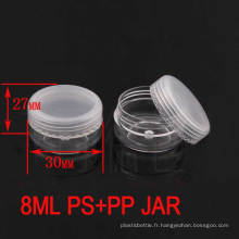 8g de haute qualité transparent en plastique cosmétiques Crème Jar avec Ppcap