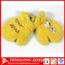 New design children flavor Winter style lovely yellow plush gloves with embroidery