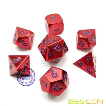 Bescon 7pcs Set Heavy Duty Metal Dice Set Glossed Color of Wine, Solid Metallic Polyhedral D&D Dice Set Wine Red w/ Blue Numbers