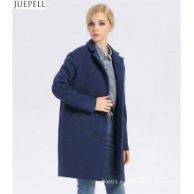 Abrigo de lana azul a estrenar de las mujeres de la buena calidad de Europa Abrigo de lana azul de las mujeres de doble botonadura largas