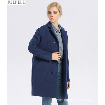 European Brand New Good Quality Women Winter Coat Long Double-Breasted Women′s Windbreaker Blue Wool Coat