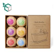 Caja de embalaje natural de la bomba del baño del papel de Kraft con el logotipo del cliente