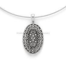 Unique Cusom Silver Jewelry Oval Pendant Chain Necklace