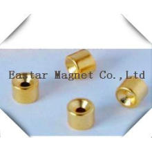 Gold Plating N38 Neodymium Permanent Magnet with Cup Shape