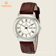 Men′s Classics Silver-Tone Watch with Brown Leather Band 72495