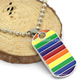 Fashion Men Custom Rainbow LGBT Dog Tag Pendant Necklace Stainless Steel Choker Gay Lesbian Hip Hop Necklace