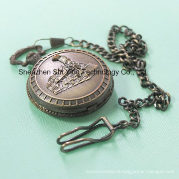Custom Japan Movement Analog Quartz Pocket Watch with Train