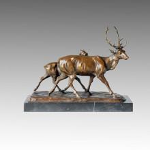 Animal Bronze Sculpture Deers Carving Deco Brass Statue Tpal-154