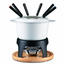 Cheese Cast-Iron Traditional Fondue Pot with wooden tray