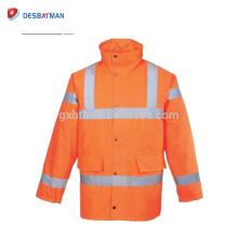 Veste réfléchissante de sécurité imperméable à l'eau de Parka d'hiver de haute visibilité