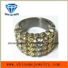 Anillos de dedo de compromiso oro plateado joyas de boda de cristal