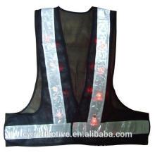 Elegante design de moda rendas piscando LED iluminado reflexivo colete de segurança para senhora