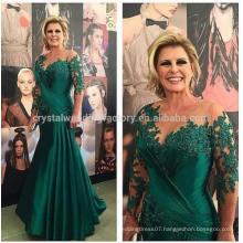 estido Longo De Festa Formal Long Robe Soiree 2017 New Arrival Lace Mermaid Green Long Sleeve Mother Of The Bride Dress MM975