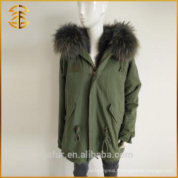 Vente en gros Manteau à capuche coloré Raccoon Real Women Winter Fur Parka