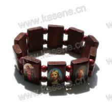 Epoxy Saint Image Wooden Rosary Bracelet