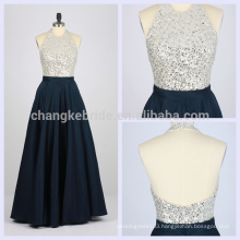 2016 Fashion Royal Blue Beaded and Sequined Floor Length Satin Prom Dress