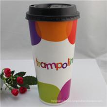 Taza de café desechable de papel de 12 oz con tapa