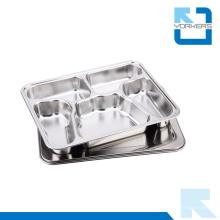 Venta al por mayor de acero inoxidable 5 compartimiento mariposa almuerzo placa