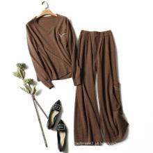 Mulheres camisola e calças conjuntos cashmere tricô camisola v pescoço beading bolsos de decoração caramelo cor sweater sets