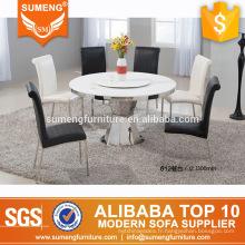 nouveau design blanc rond en marbre top table à manger ensemble
