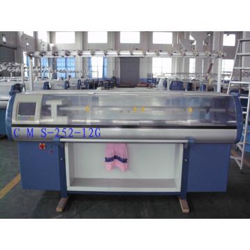 Machine à tricoter plate informatisée par chandail de double système de 12g avec le dispositif de peigne