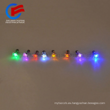 Venta caliente aleación de metal diamante cristal LED iluminación del perno prisionero de la barra de artículos de fiesta brillo colorido intermitente earing