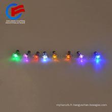 Vente chaude en alliage métallique diamante cristal LED éclairage oreille stud bar articles de fête éclat coloré clignotant earing