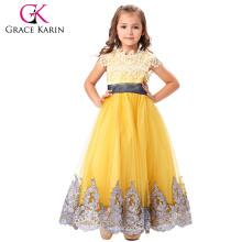 Grace Karin Vestido de Baile Lace Applique Chicas Vestidos de fiesta Elegante piso de longitud vestidos de fiesta para Bodas CL010423-1