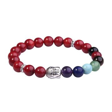 7 Chakra Gemstone Beads Buddhism & Buddha Alloy Red Carnelian Bracelet