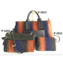 Guangzhou Branded Soft Felt Bag Set of Women Handbag (P-1010)
