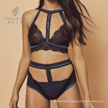 Super stylish encaje sexy silk and lace soft wireless high neck cage bralette bra