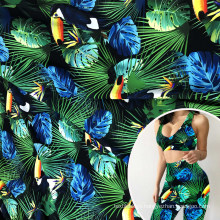 soft breathable parrot printed nylon 86 spandex 14 cotton imitation dry fit sports fabric for leggings