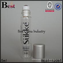 Flacon de verre de tube de 5ml pour le parfum, forme ronde, couleur de peinture, bouteille claire, 2 échantillons gratuits