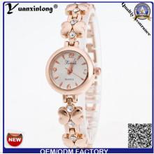 Yxl-408 2016 nova genebra liga de strass relógio de quartzo moda relógios de pulso da placa de ouro senhora relógio de pulso