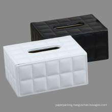 Black / White Stitched Grid Leather Tissue Paper Boxes
