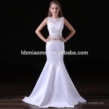2017 nueva moda sirena vestido de noche de color blanco con cordones vestidos de dama de honor sudáfrica con pequeña cola