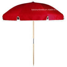 Red Color Sun Screen Wooden Handle Beach Umbrella