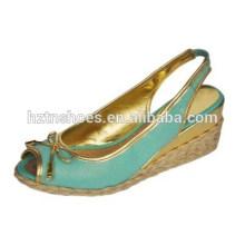 Linen surface peep-toe bow sandal comfortable environmental protection wedges women's shoes