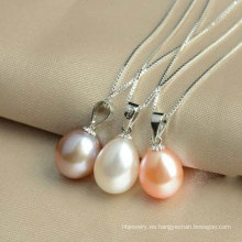 Colgante de agua dulce de la perla de la gota de la plata esterlina 925, joyería de la perla