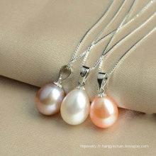 Pendentif en perle d'eau douce en argent sterling 925, bijoux en perle