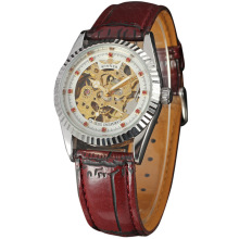 skeleton dial watch for women diamond design leather band