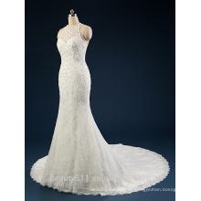 2017 una línea de cuello alto sin mangas piso de longitud de encaje vestido de boda AS41101