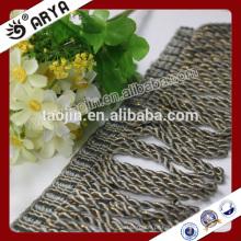 2016 Stock Product Grande venda para o têxtil doméstico Sofá da linha de ouro Lingote Trimming Fringe