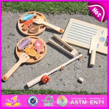 2015 Children Toy Funny Wooden Magnetic Fishing Game, DIY 3 in 1 Wooden Toy (fishing toy, cutting fish toy, cook fish toy) W01A069